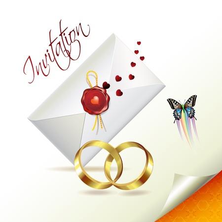 Wedding card with butterflies Stock Vector - 8804086