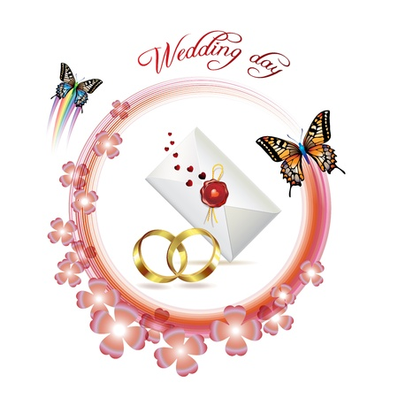 Wedding card with butterflies Stock Vector - 8804089