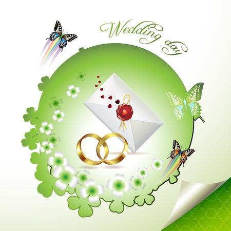 Wedding card with butterflies Stock Vector - 8804083