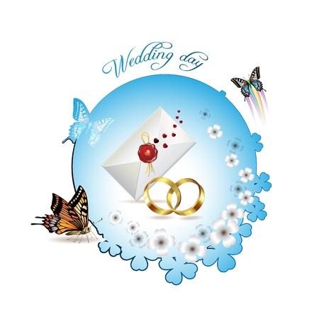 Wedding card with butterflies Stock Vector - 8804090