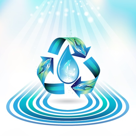 Ecology icon with drop and dolphins, recycle water Vector