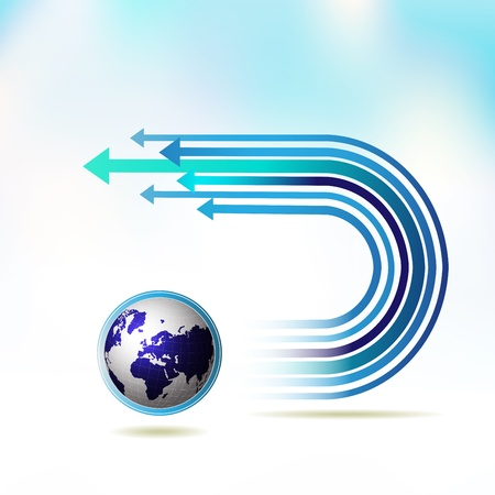 financial occupation: Blue Earth with colored arrow over sky background Illustration
