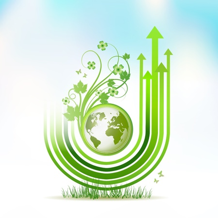 Green Earth with green arrow stripes over sky background Vector