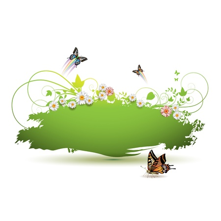 jets: Green background with flowers and butterflies