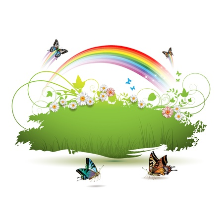 Green background with flowers and butterflies Vector