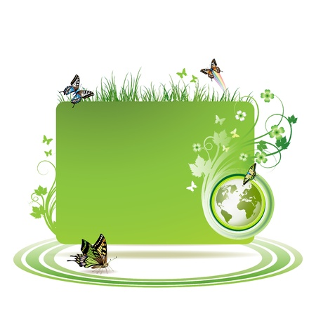 Green earth background with butterflies Vector