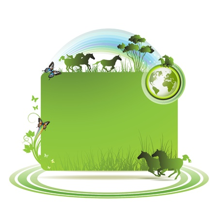 eco icons: Green earth background with horses and butterflies