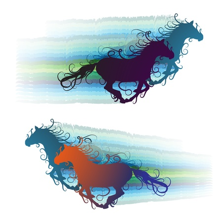 curly tail: Colored horse silhouette with jets  Illustration