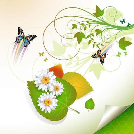 Flowers over leaves and butterflies Vector