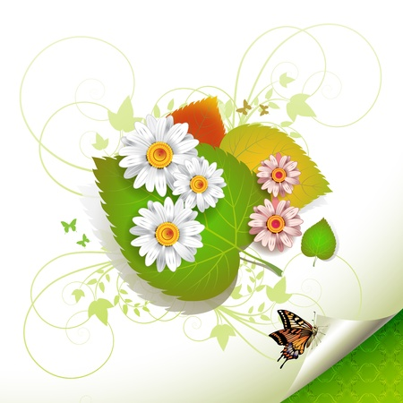 Flowers over leaves and butterfly  Vector