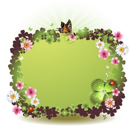 earthenware: Fondo del d�a de San Patricio con flores y mariposas