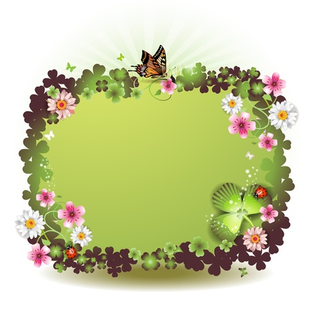 clover banners: St. Patricks Day background with flowers and butterflies Illustration
