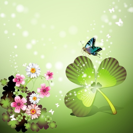 St. Patrick's Day background with flowers and butterflies Stock Vector - 9096036