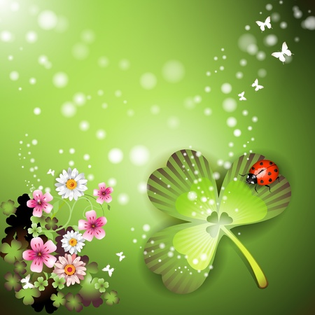patric banner: St. Patricks Day background with flowers and butterflies Illustration