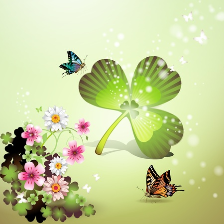 St. Patricks Day background with flowers and butterflies Vector