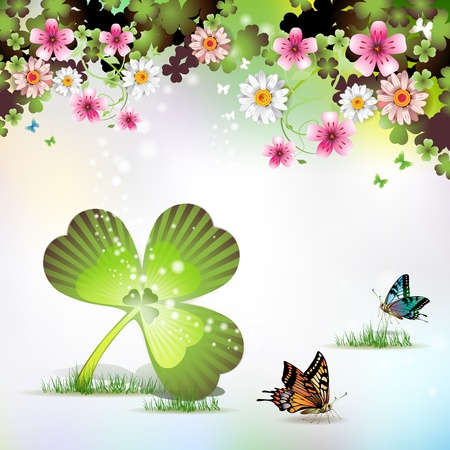 St. Patrick's Day background with flowers and butterflies Stock Vector - 9096094