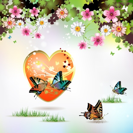 Big heart, and butterflies over springtime background for Valentines day Vector