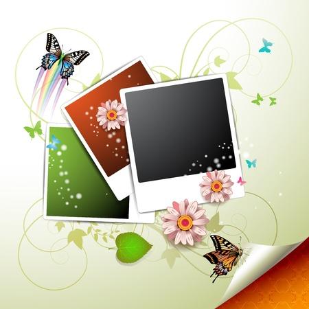 Foto'sinzameling met bloemen en vlinders