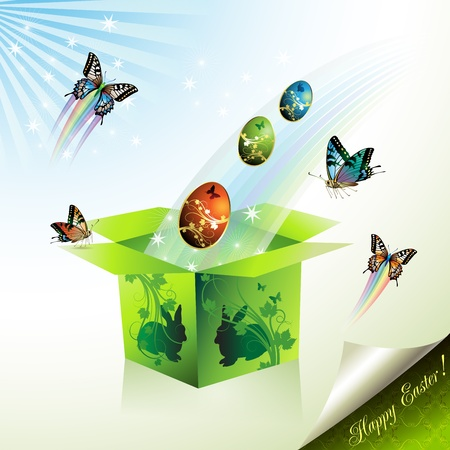 Easter box with decorated eggs and envelope, illustration card  Vector