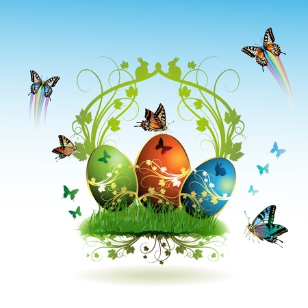 chocolate egg: Easter card with butterflies and decorated eggs on grass Illustration