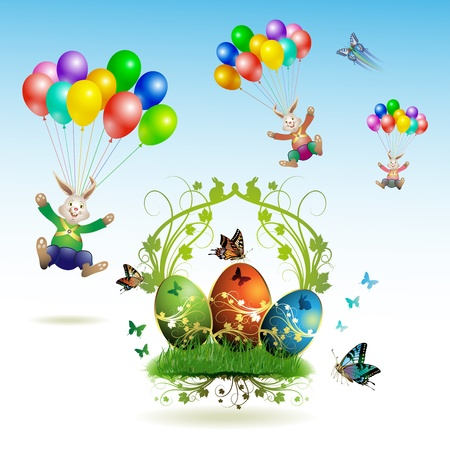 Easter card, bunnies flying with balloons, butterflies and decorated eggs on grass  Vector