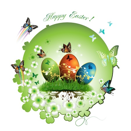 Easter card with butterflies and decorated eggs on grass Vector