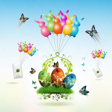 Easter card with butterflies and decorated eggs on grass raised by balloons Vector