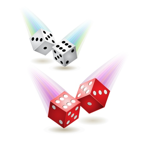 Two pairs of dices, red and white with jets  Stock Vector - 9100397