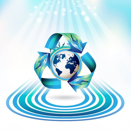 Ecology icon with dolphins, recycle water Vector