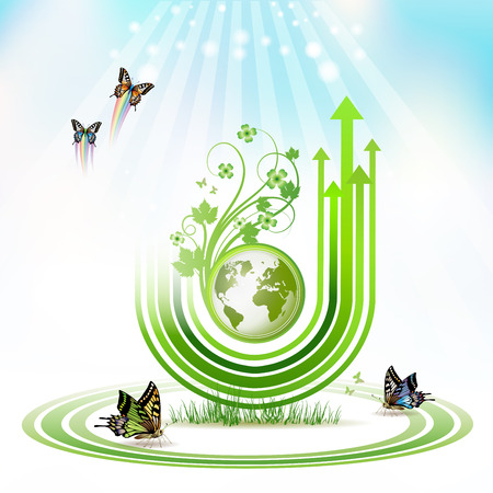 Green Earth with green arrow stripes and butterflies over sky background Vector