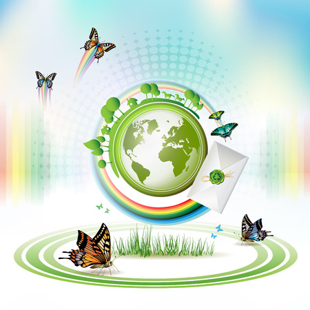 Green Earth with butterflies and envelope over sky background  Vector