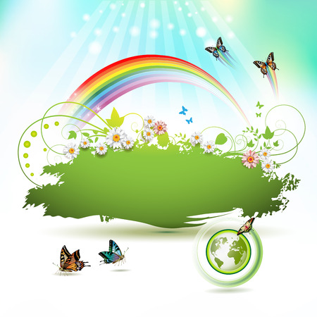 Green Earth background with flowers and butterflies Vector