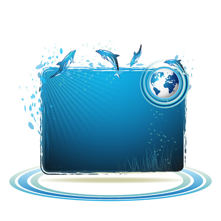 water jet: Blue Earth background with dolphins