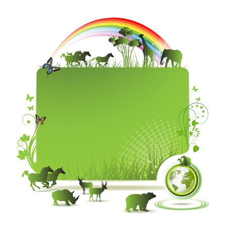 protecting: Green earth banner, background with horses and butterflies Illustration