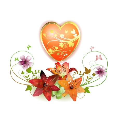 Heart decorated with flowers and butterflies for Valentines day, vector illustration  Vector