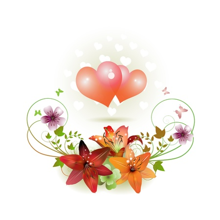 Hearts decorated with flowers and butterflies for Valentines day, vector illustration Vector