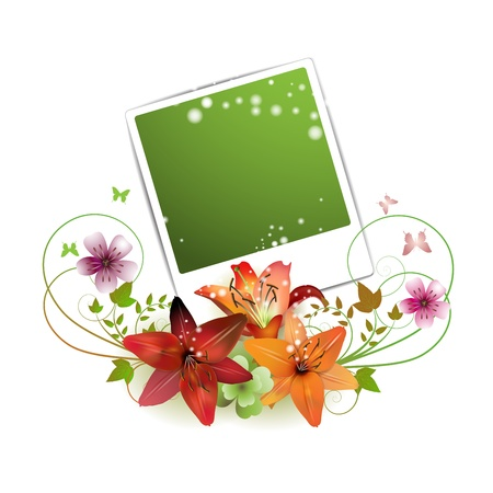 photo corner: Blank photo decorated with flowers and butterflies