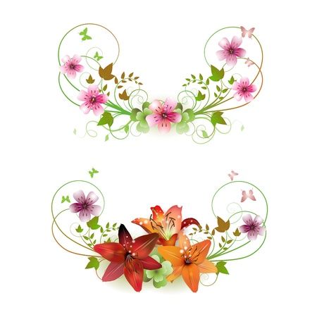 Flowers arrangement and butterflies, lilies of different colors  Stock Vector - 9100410