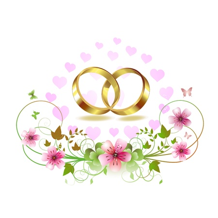 nuptials: Two wedding ring with hearts and decorated flowers isolated on white background