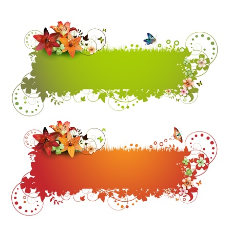 Green and red background with flowers and butterflies isolated on white  Stock Vector - 8804153
