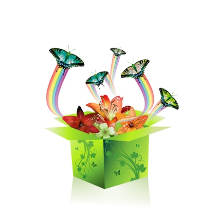 Springtime box with butterflies and flowers Stock Vector - 8804152