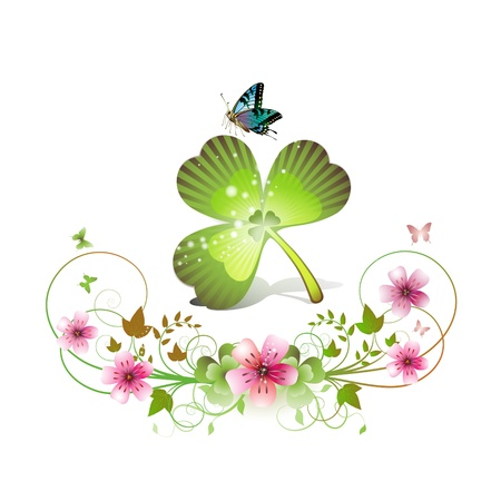 Clover with flowers and butterflies for St. Patricks Day  Vector
