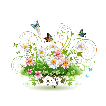 Flowers in the grass and butterflies  Vector