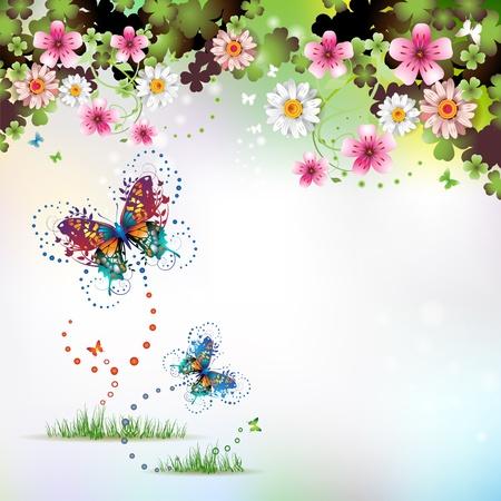 estrella de la vida: Fondo de primavera con flores y mariposas