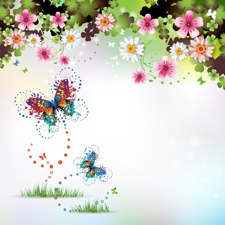 joy of life: Springtime background with flowers and butterflies