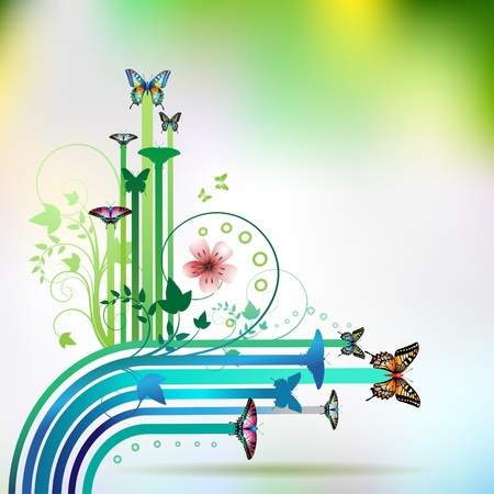 jets: Springtime background with butterflies and stripes