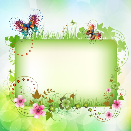 green butterfly: Banner with flowers and butterflies