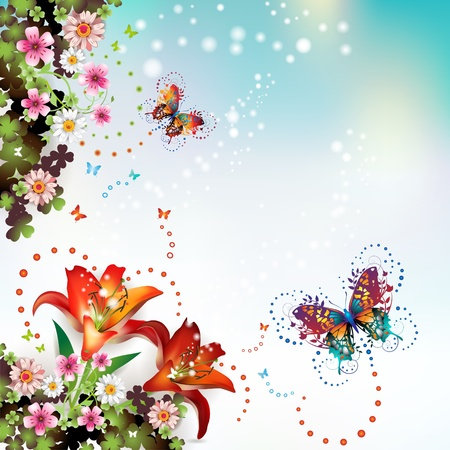 isolated on a white background: Background with flowers and butterflies  Illustration