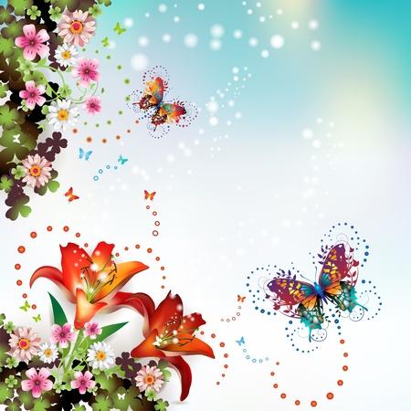 estrella de la vida: Fondo con flores y mariposas  Vectores