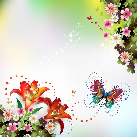 star life: Background with flowers and butterflies